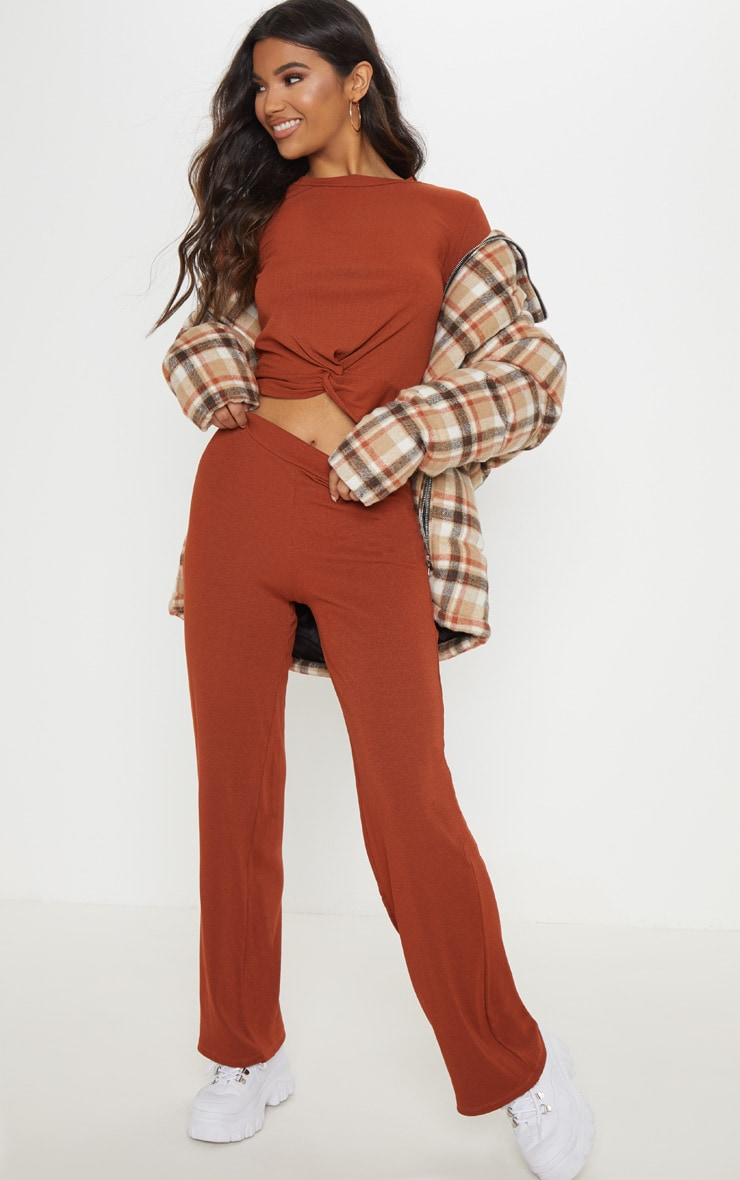 Rust Ribbed Co-Ord 4