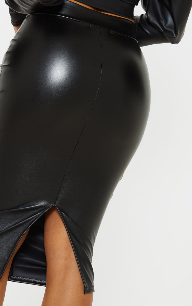 efe6acabab Petite Black Faux Leather Panel Midi Skirt | PrettyLittleThing