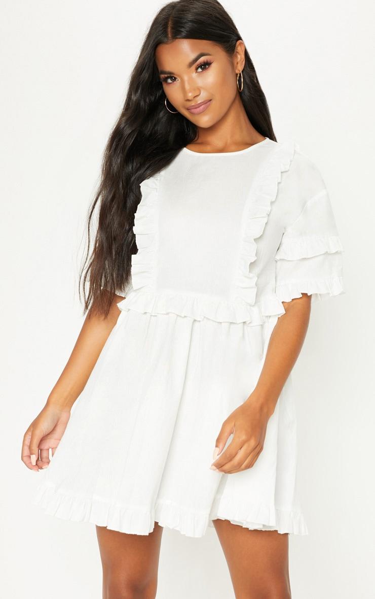 White Woven Frill Split Back Tea Dress 1