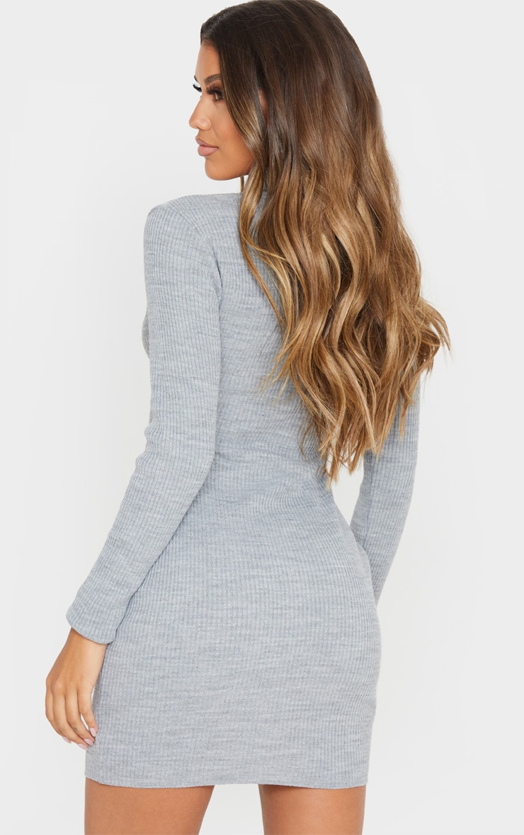 PRETTYLITTLETHING Grey Rib Knitted Bodycon Dress 2
