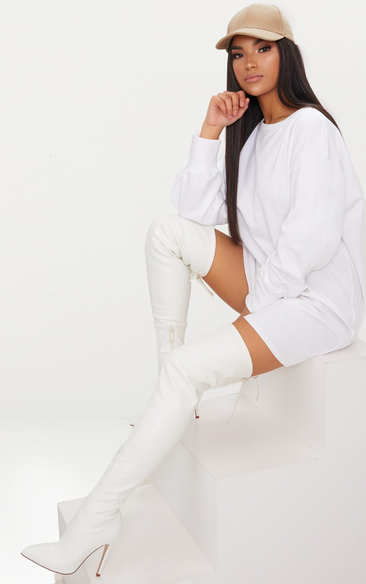 White PU Pointed Thigh High Boot