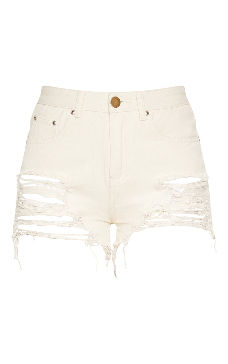 Ecru Jeanie Extreme Ripped  Denim Shorts  3