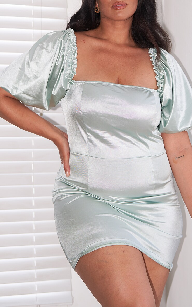 Plus Mint Satin Puff Sleeve Square Neck Bodycon Dress 4