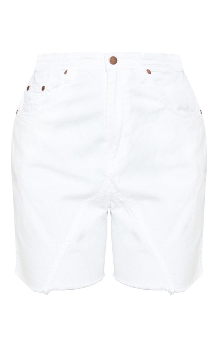 White Longline Denim Shorts 3