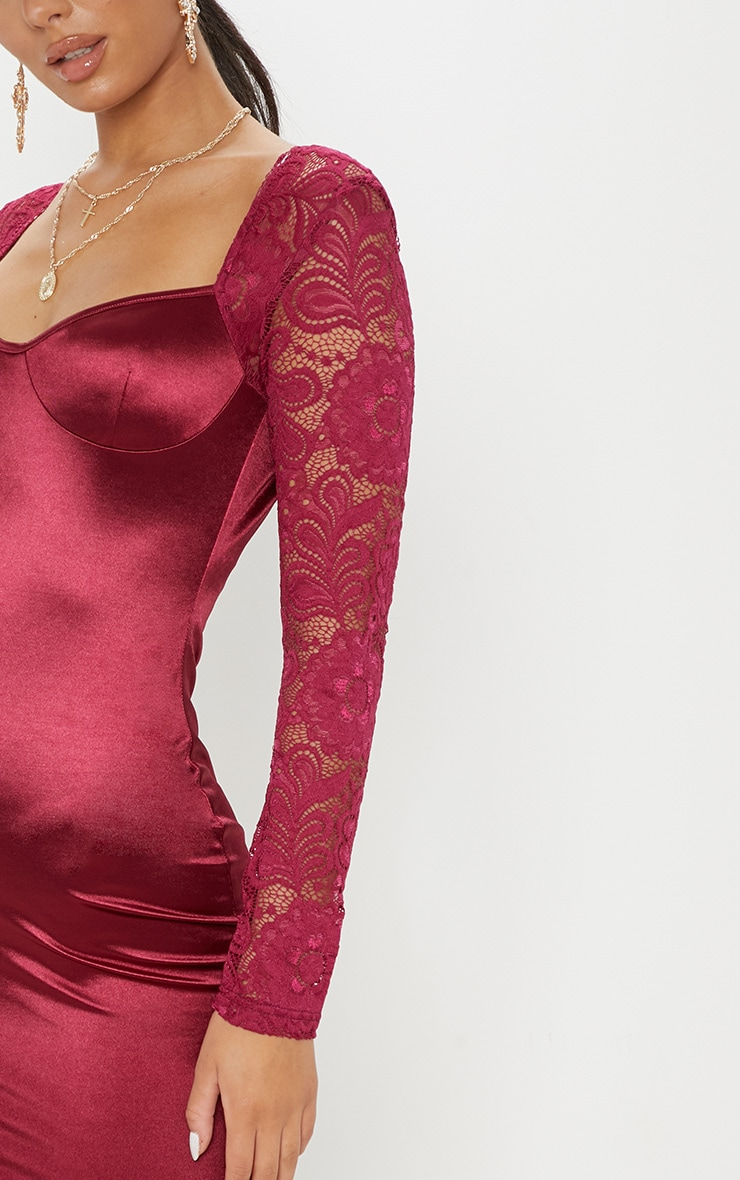 Plum Satin Lace Sleeve Bodycon Dress 5