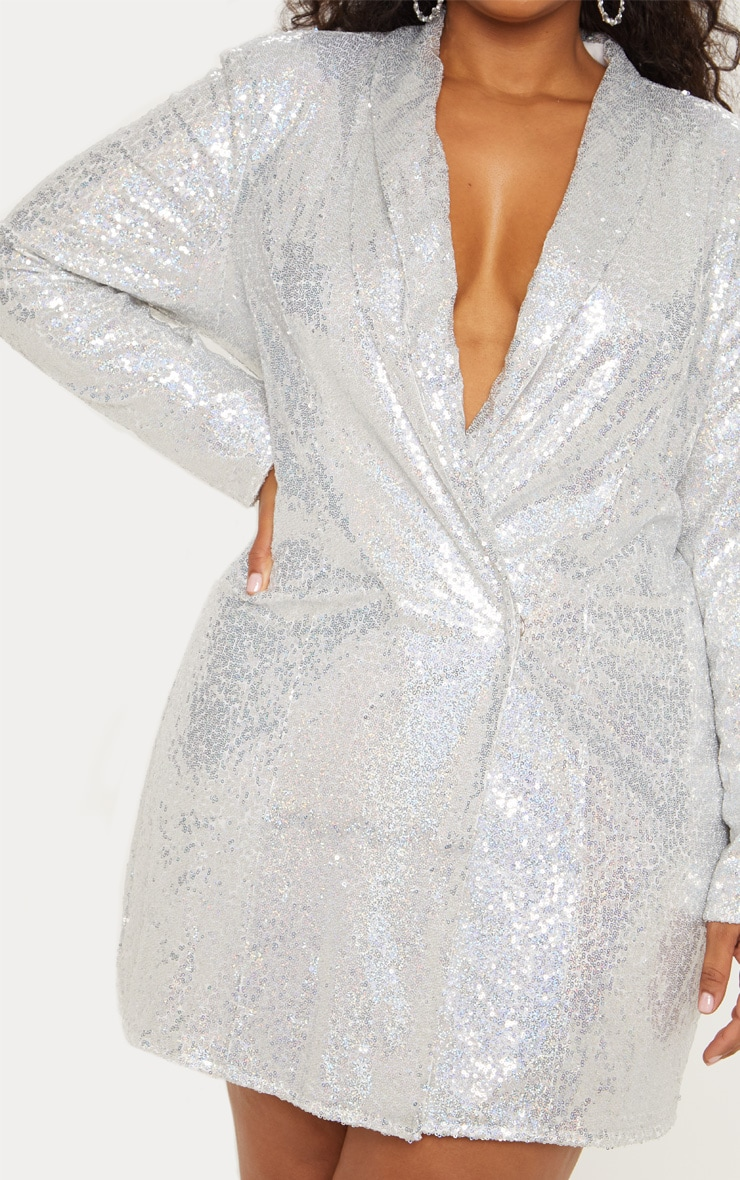 Plus Silver Sequin Blazer Dress 7