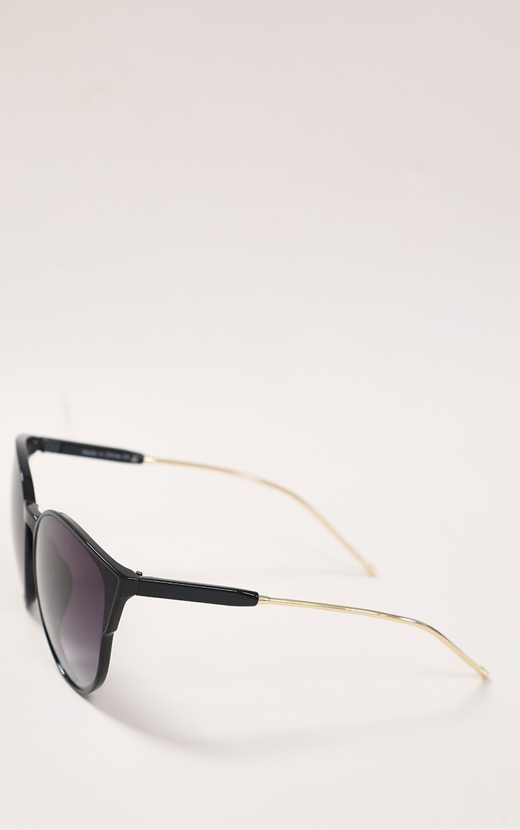 Black Sleek Oversized Cat Eye Sunglasses 5
