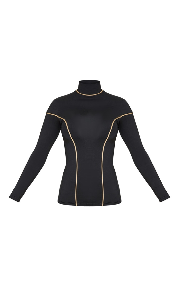 Black & Camel Long Sleeve Contrast Piping Gym Top 3