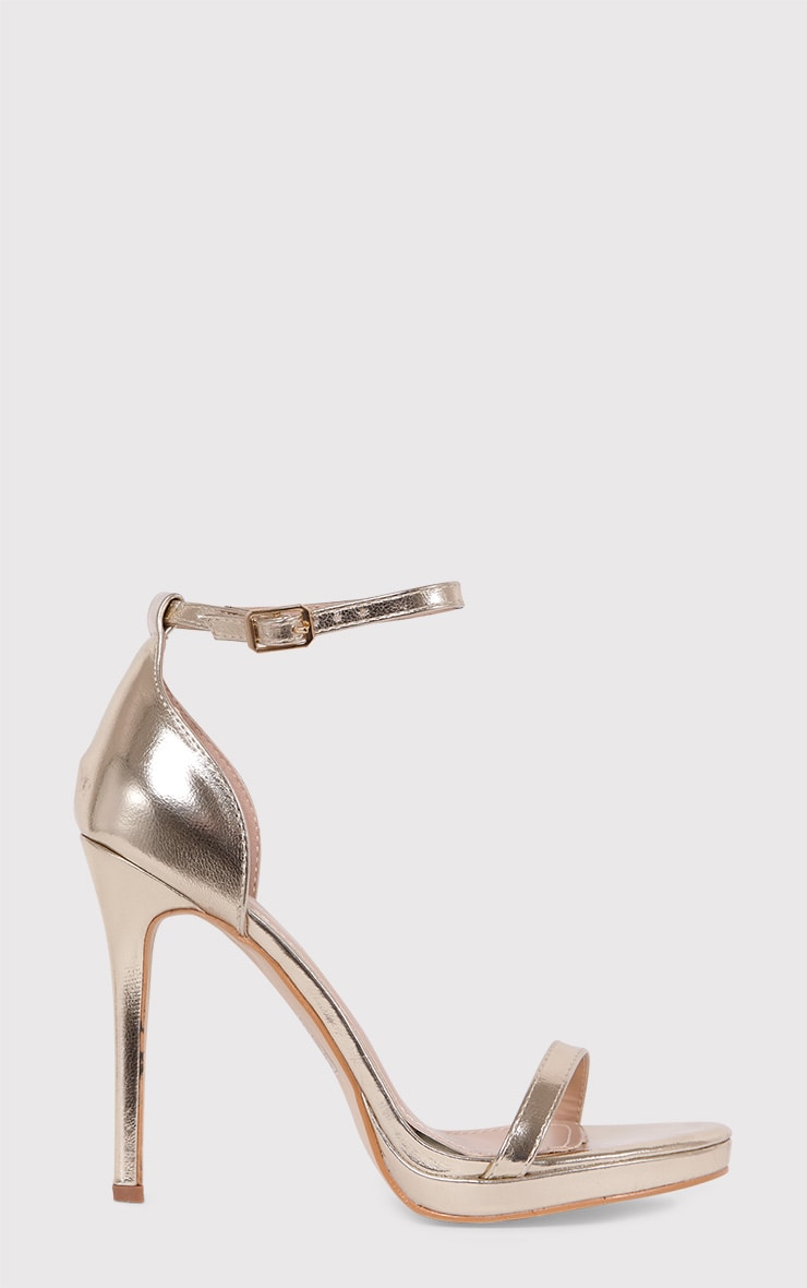Enna Gold Single Strap Heeled Sandals 2