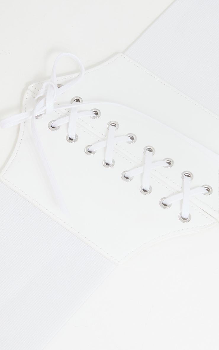 White PU Lace Up Corset Belt 3