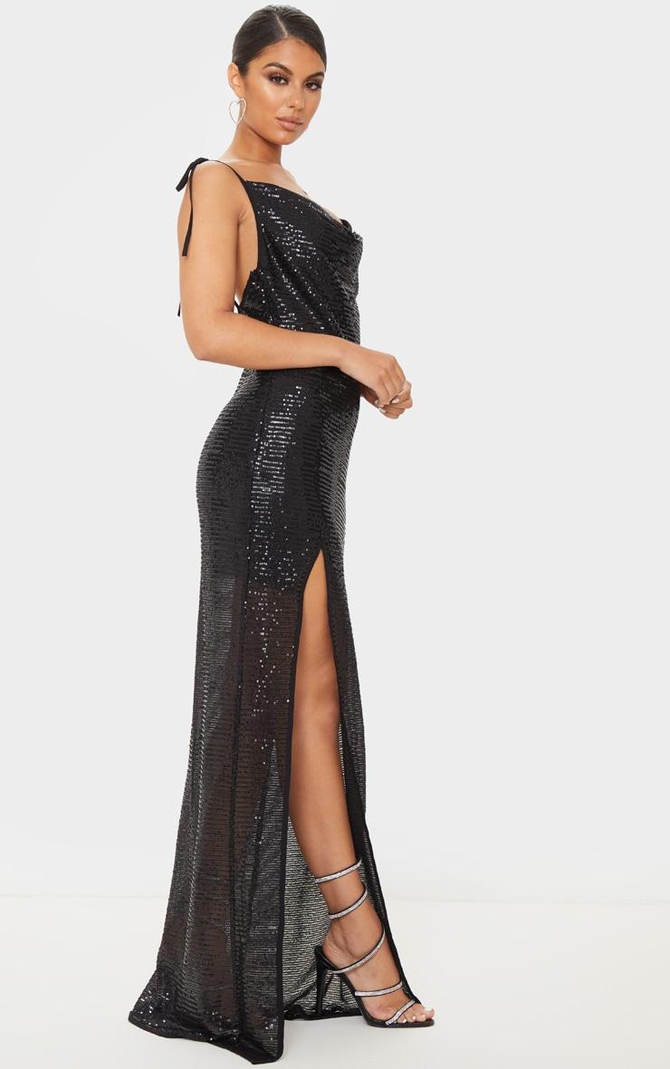 Black Sequin Tie Strap Cowl Neck Maxi Dress 4