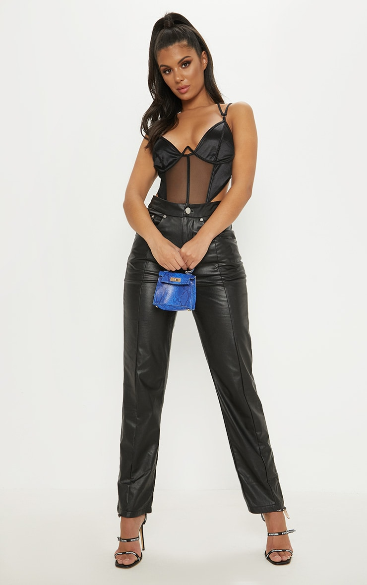 Black Satin Mesh Wire Bodysuit 5