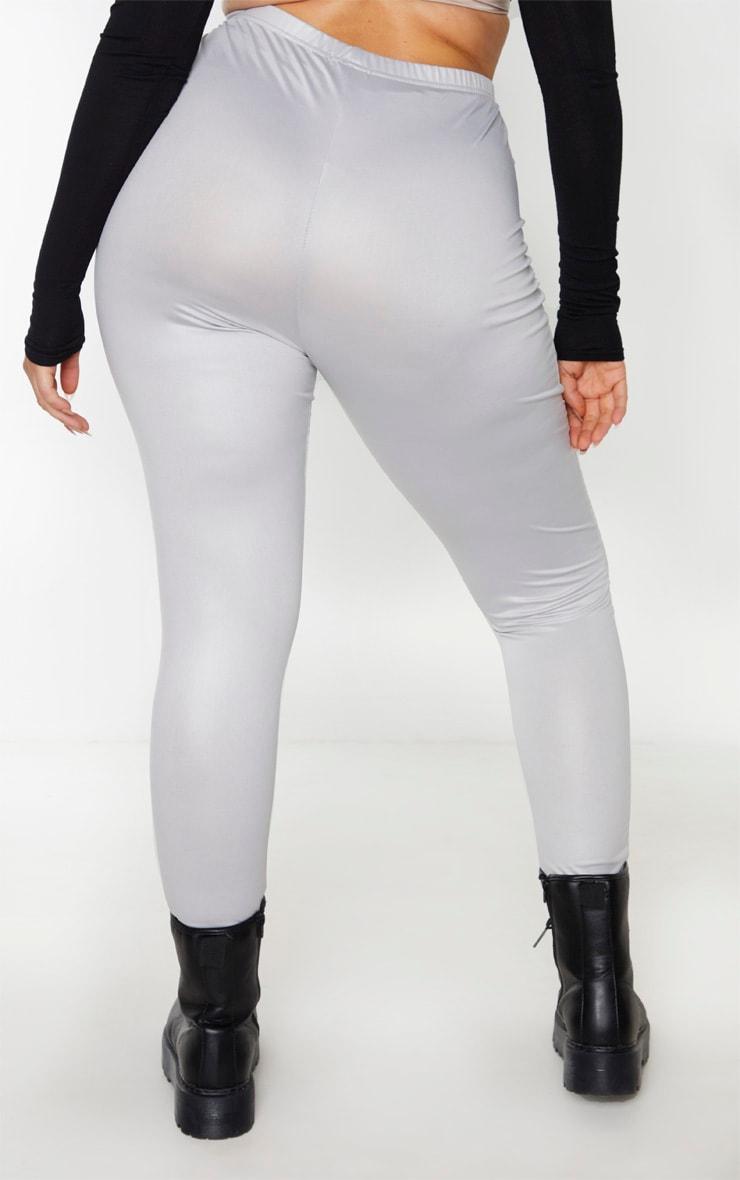 Plus Grey Wet Look Legging 2