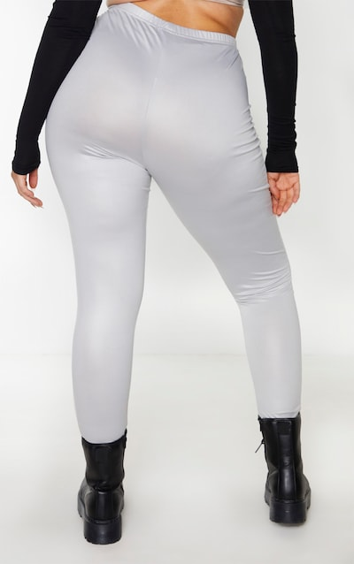 Plus Grey Wet Look Legging