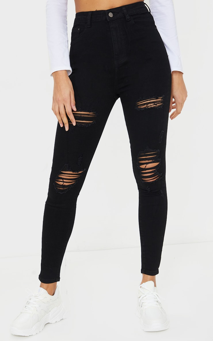 PRETTYLITTLETHING Black Distressed 5 Pocket Skinny Jean 2