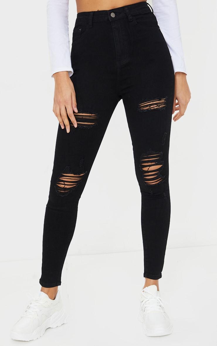PRETTYLITTLETHING Black Ripped 5 Pocket Skinny Jeans 2