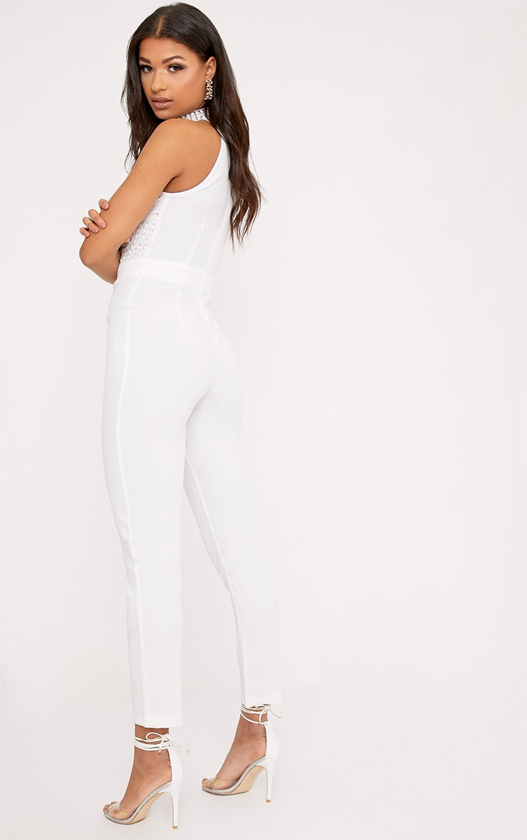 White Lace Embroidery Top Jumpsuit 2