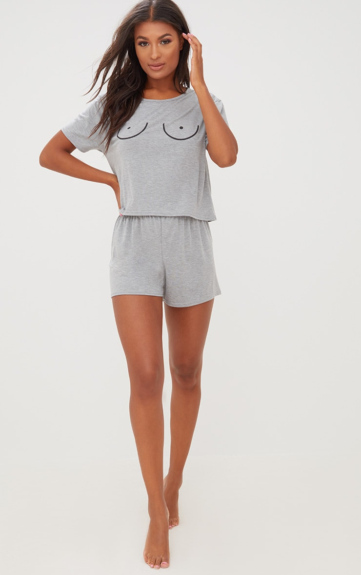 Grey Boob Slogan Pj Set 4
