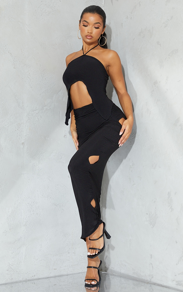 Black Slinky Cut Out Maxi Skirt 1