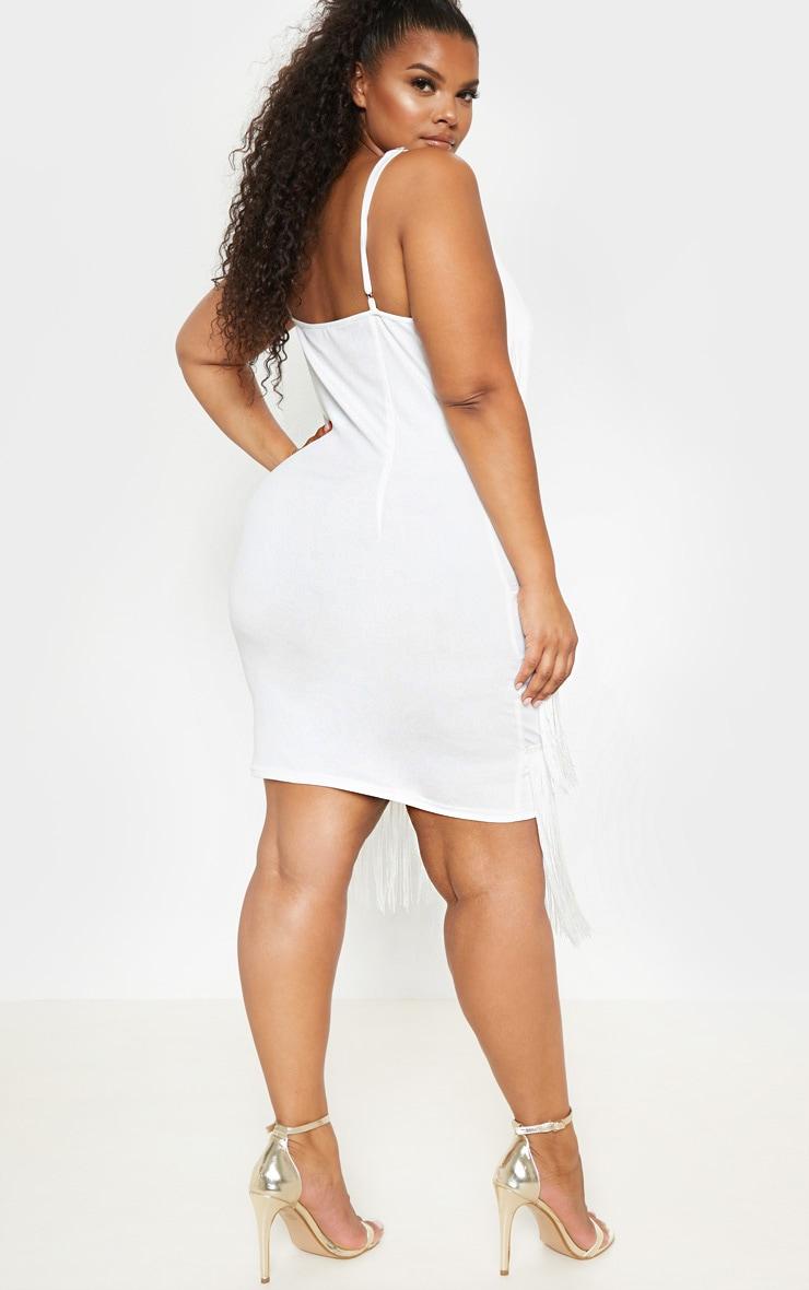 Plus White Strappy Tassel Midi Dress 2