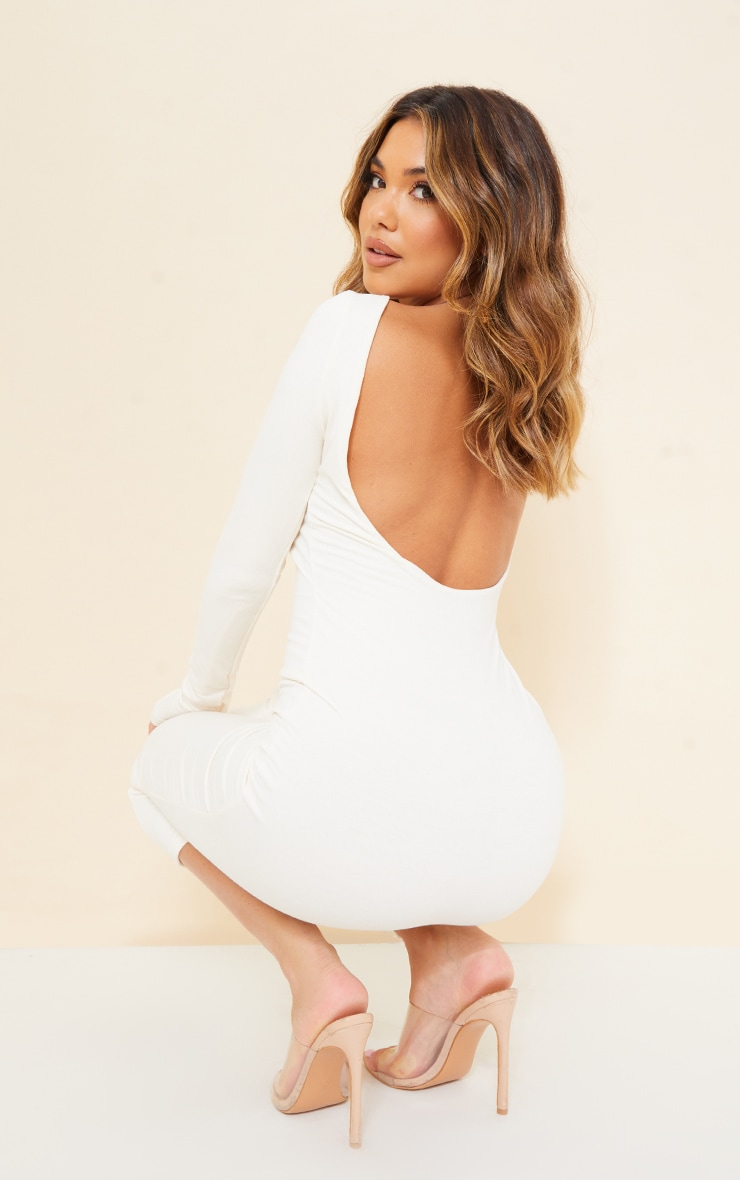 Recycled Cream Contour Jersey Long Sleeve Thumb Hole Scoop Back Midaxi Dress 1