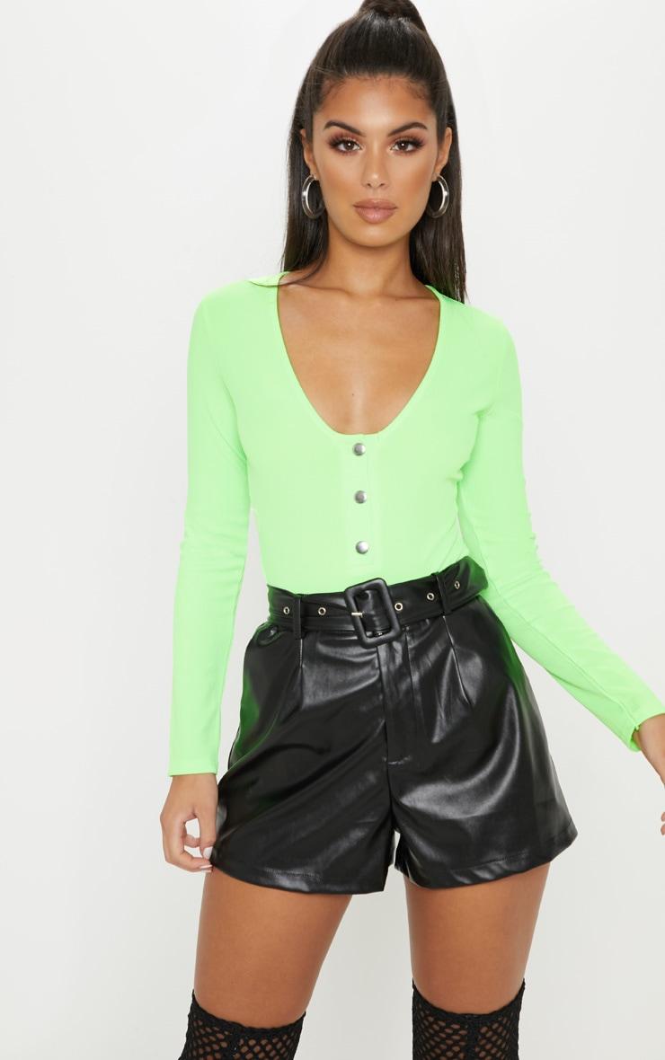 Lime Neon Popper Scoop Neck Long Sleeve Bodysuit 1