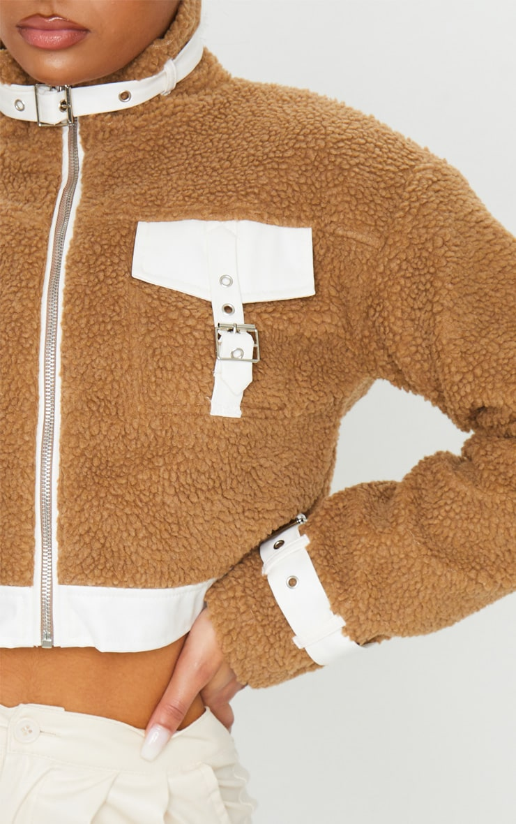 Camel Borg Contrast Trim Zip Through Jacket 4