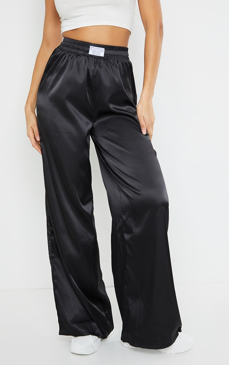 PRETTYLITTLETHING Black Badge Satin Wide Leg Trousers 2
