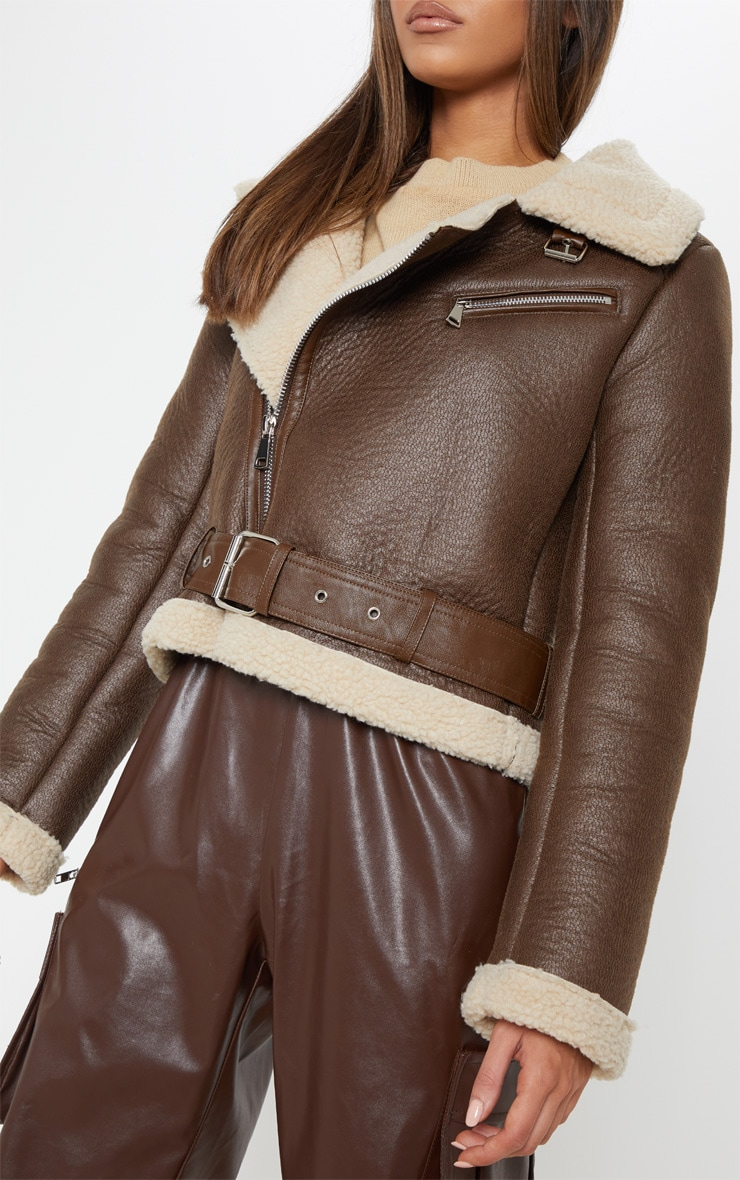 Brown Contrast Faux Fur Cropped Aviator 5