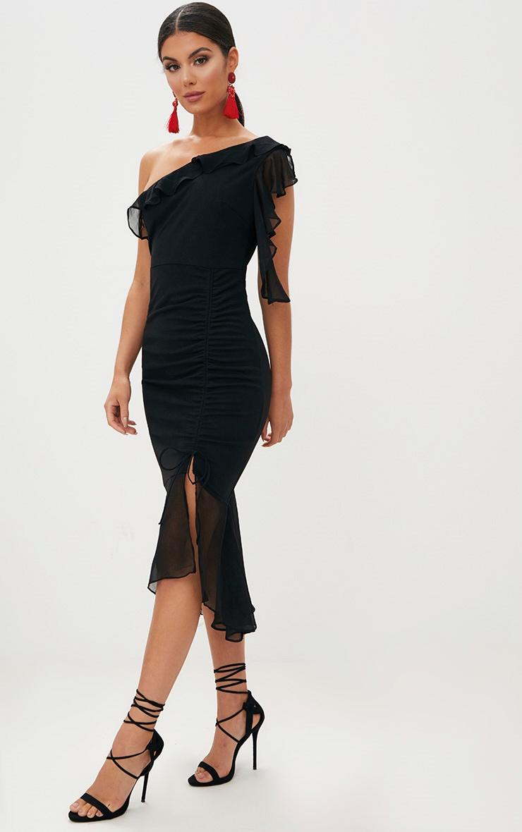 Black Ruched Detail Frill One Shoulder Midi Dress 1