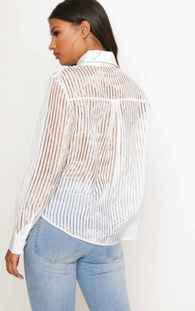 White Stripe Sheer Oversized Shirt 2