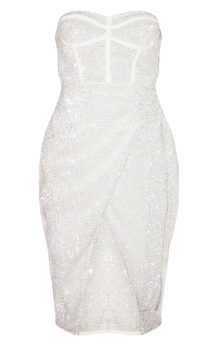 Silver Sequin Binding Detail Side Tie Bandeau Midi Dress 3