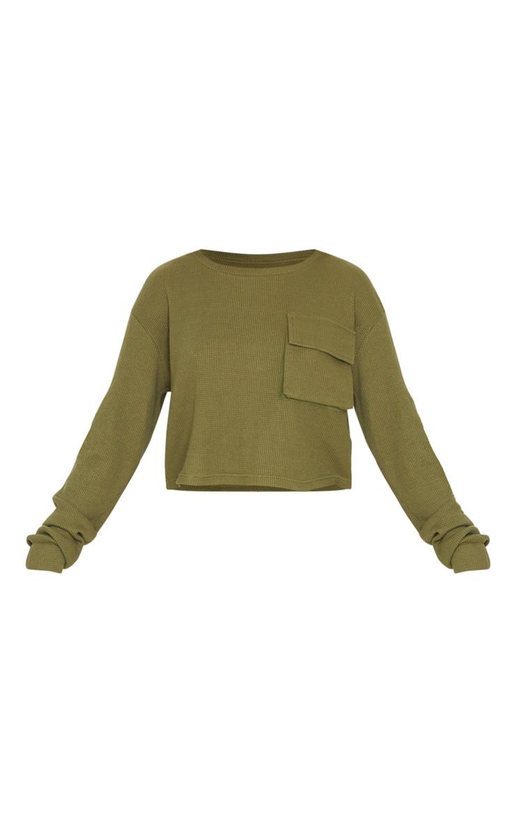 Crop top en maille gaufrée kaki à manches longues et poche 3