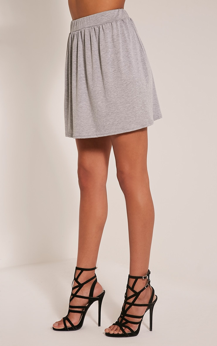 Basic Grey Floaty Jersey Mini Skirt 3