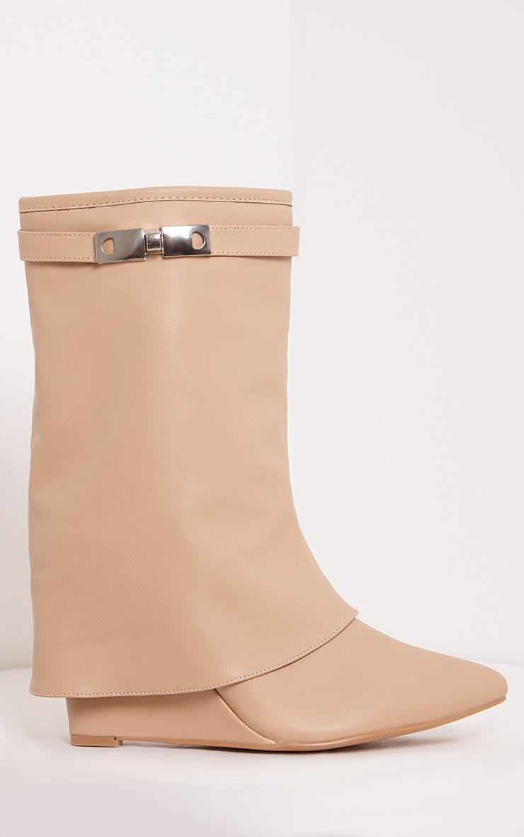 Daniela Nude PU Concealed Heel Ankle Boots 3