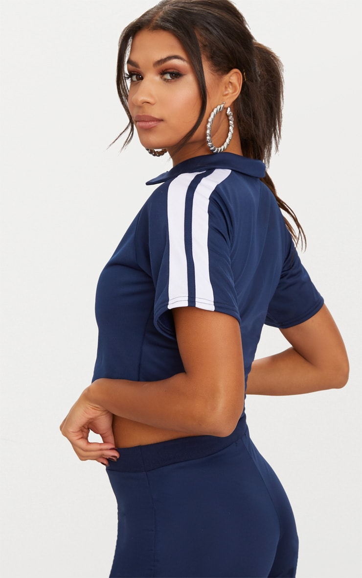 Navy Button Front Sport Stripe Crop Top  2