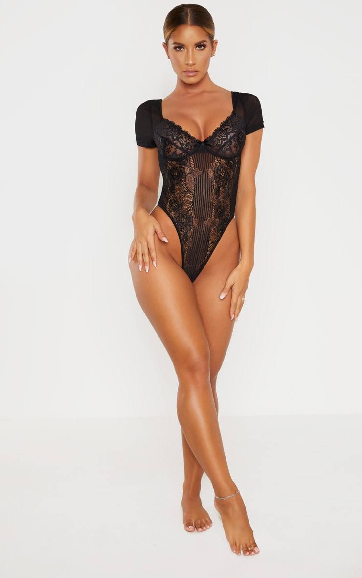 Black Short Sleeve Lace Insert High Leg Cupped Body 4