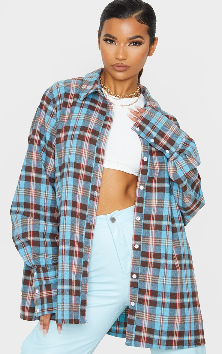 Baby Blue Tartan Checked Flannel Pocket Detail Oversized Shirt 1