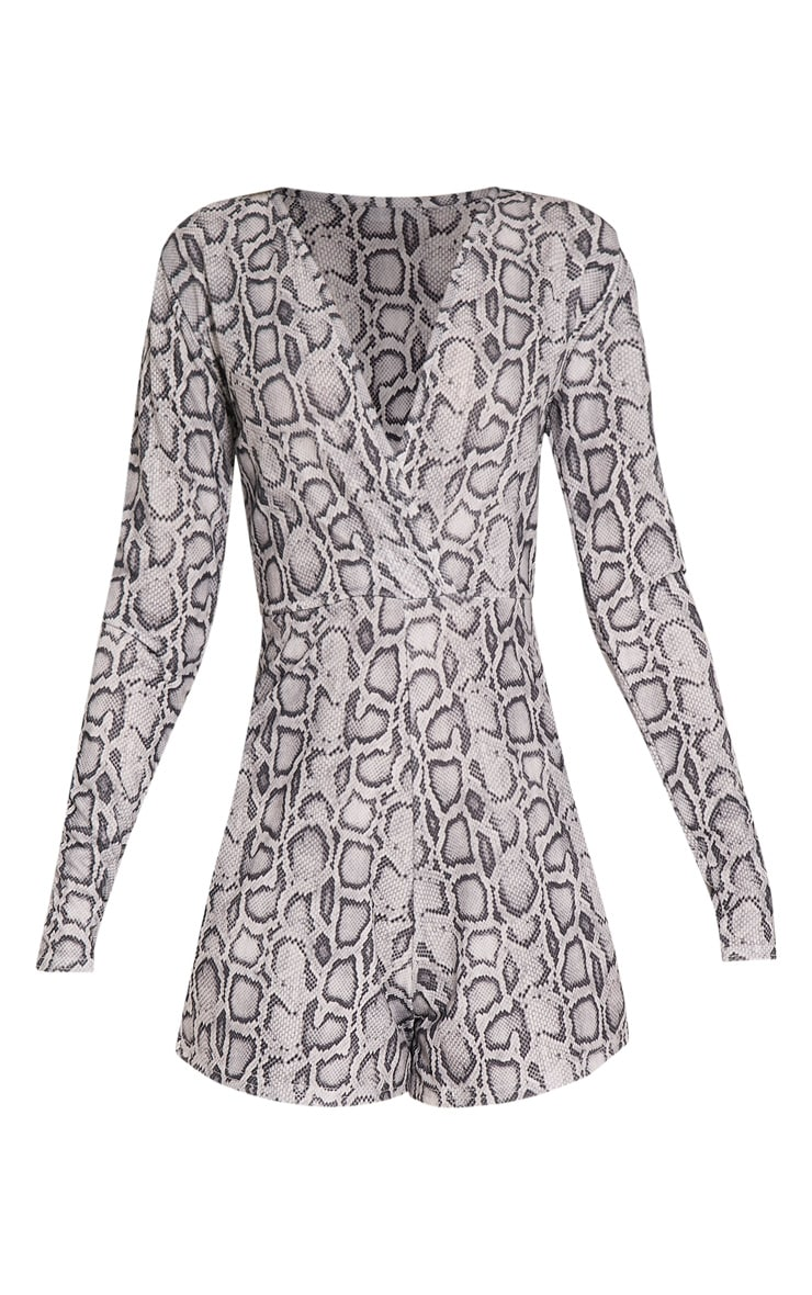 Anne Grey Snake Print Plunge Playsuit 3
