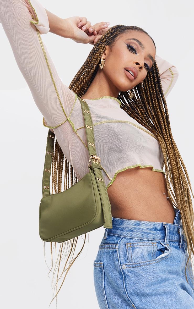 Olive Nylon Eyelet Strap Mini Shoulder Bag 1