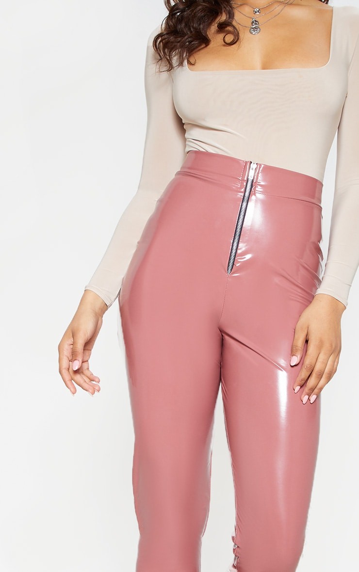 Tall Nude Zip Detail Vinyl Leggings 6