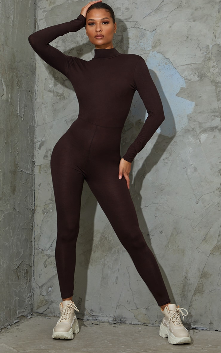 Chocolate Roll Neck Long Sleeve Jumpsuit 1