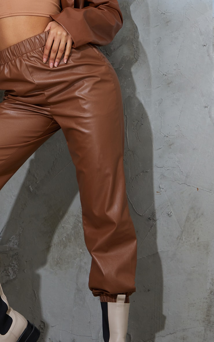 Chocolate Faux Leather Casual Joggers 4