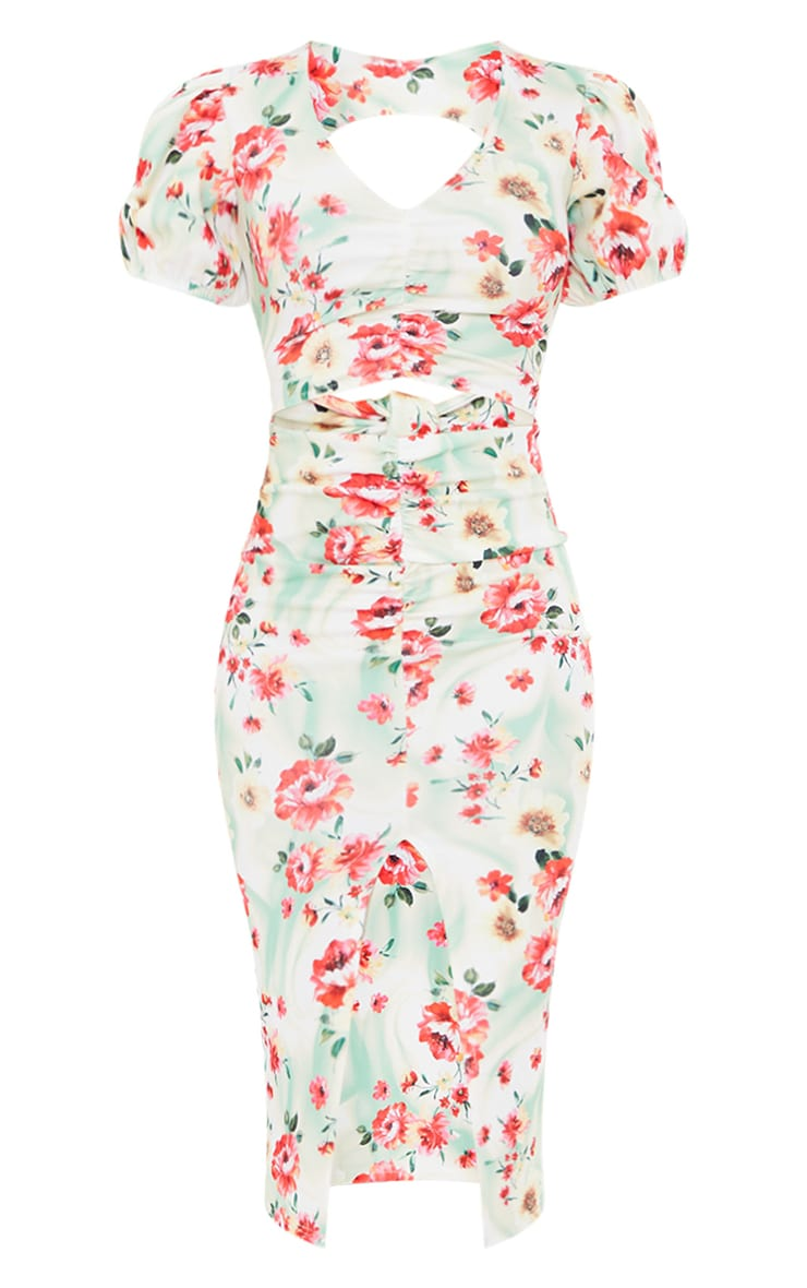 Multi Floral Print Puff Sleeve Cut Out Ruched Midi Dress 5