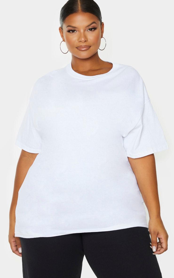 PRETTYLITTLETHING Plus White Oversized Slogan T-Shirt 2