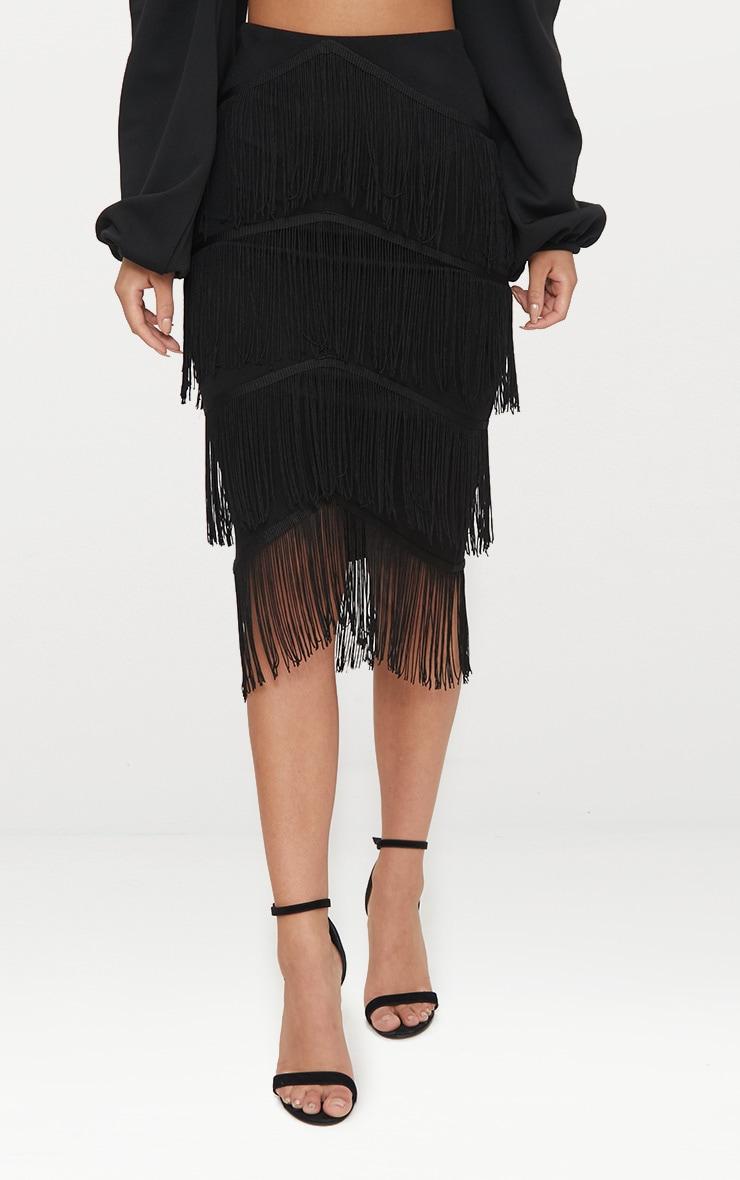 Black Tiered Fringe Midi Skirt 2