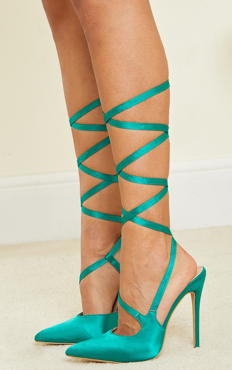 Green Satin Lace Up Court Shoes 4