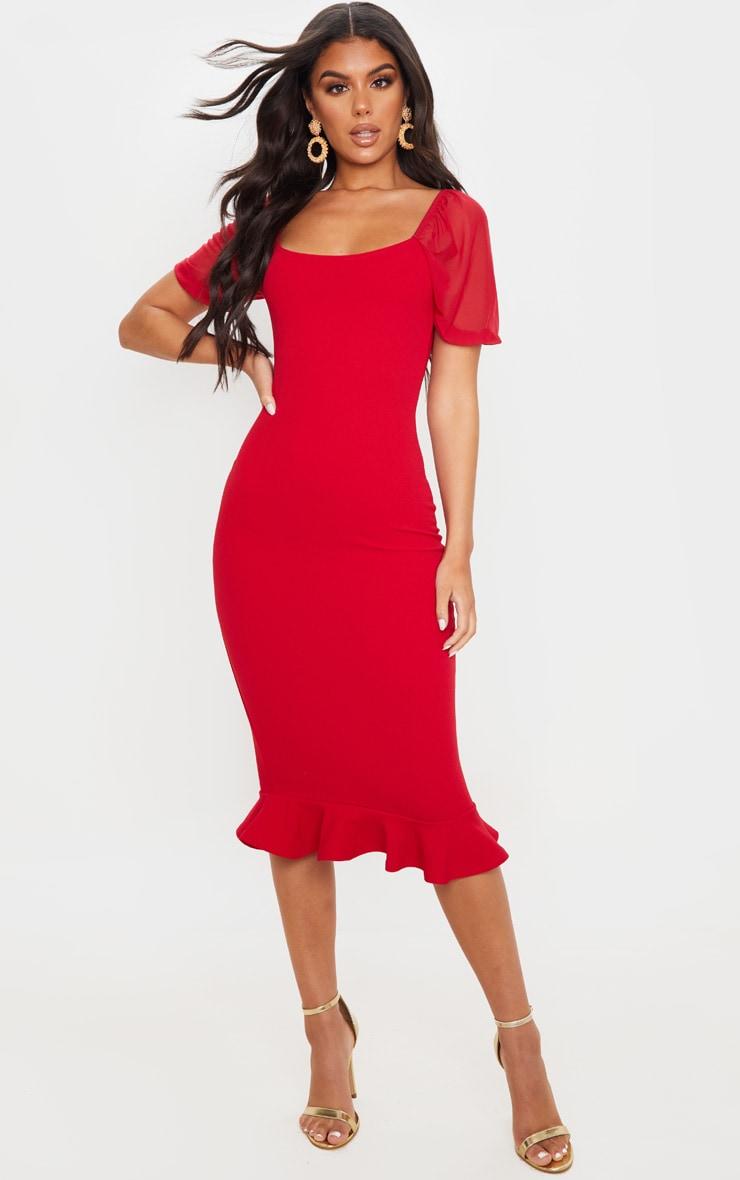 Red Mesh Puff Sleeve Frill Hem Midi Dress 1