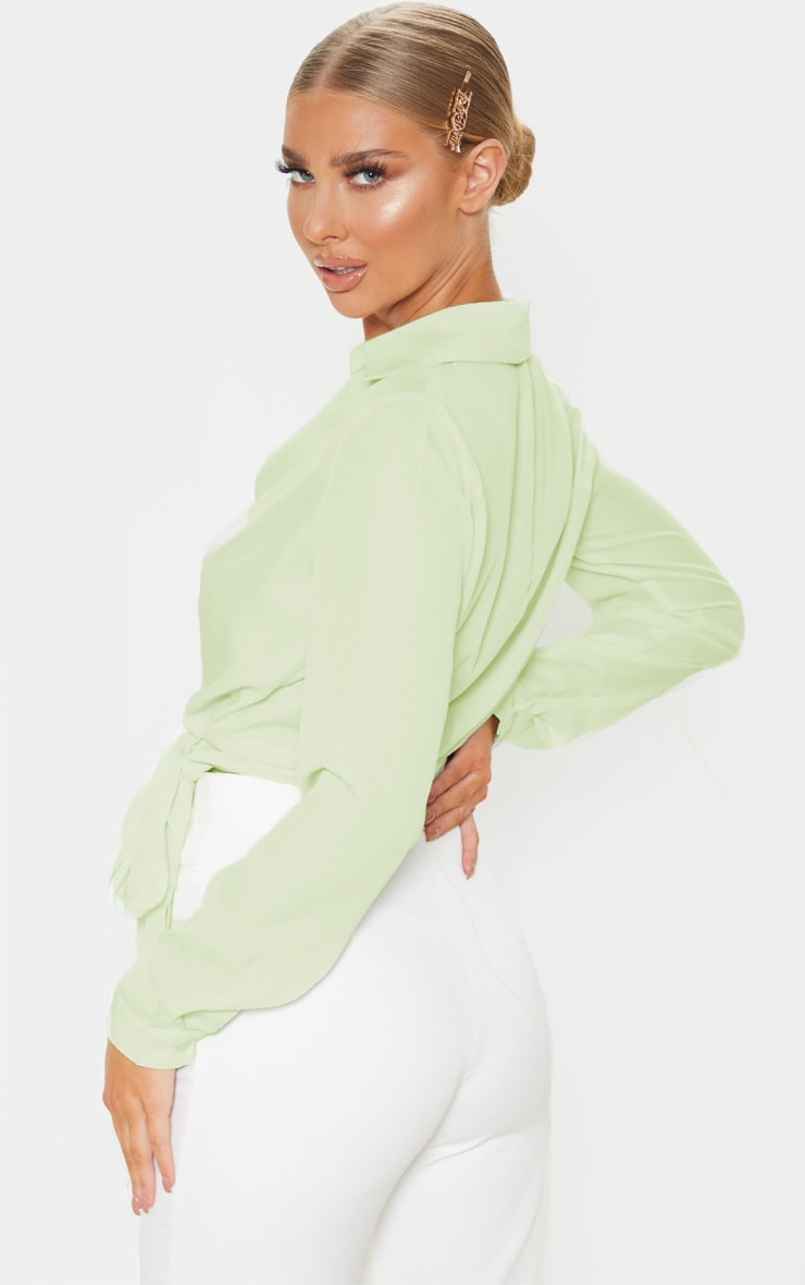 Sage Green Wrap Front Tie Side Blouse 2