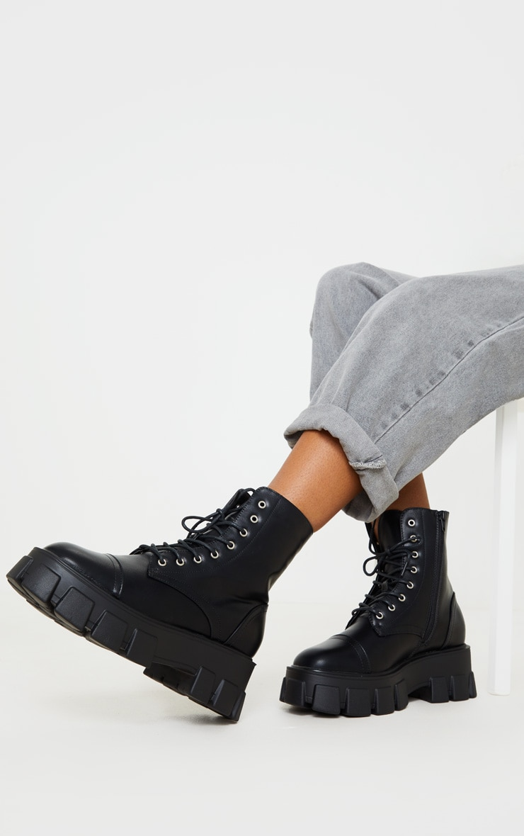 Black Lace Up Extreme Chunky Hiker Boot 3